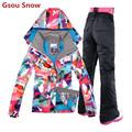 2016 Gsou Snow brand ski jacket women skiwear snowboard jacket and pant mountain skiing suit on