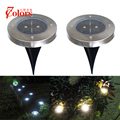 3 Pieces Solar Light Waterproof Stainless Steel Outdoor Lighting 12mm Sensor Recessed Solar Garden Lamp Round