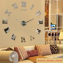 2015 hot fashion quartz watch home decor limited sale 3d big mirror diy real wall clock modern design room gift free shipping