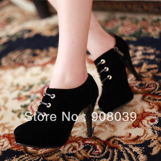 2013 new arrival office lady boots black pumps shoes lacing heel single shoes high-heeled  female shoes