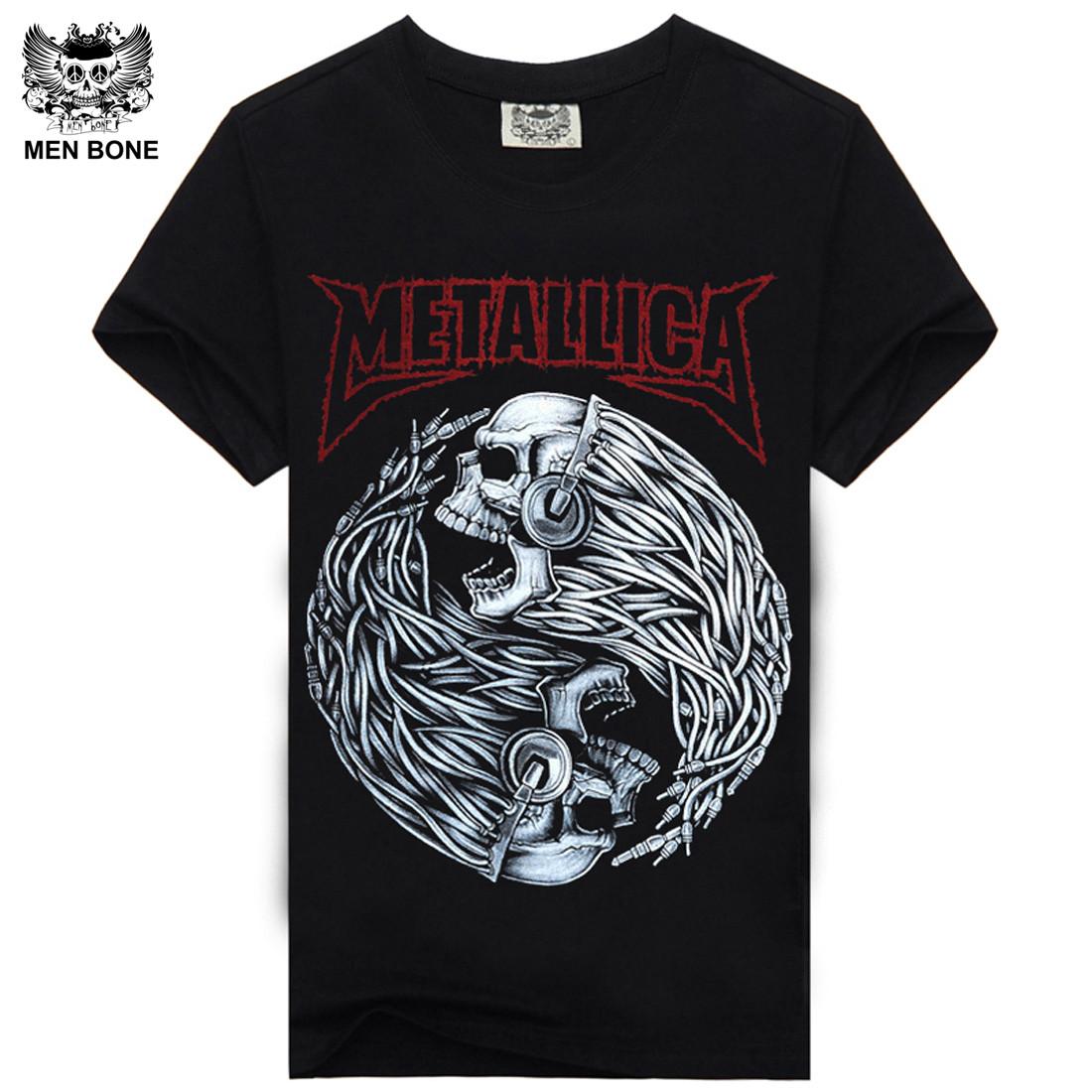 Men bone Tee Men T Shirt Black T-Shirt 100% Cotton Skull Print Heavy Metal Rock Hip Hop Clothing Black Metallica