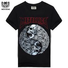 Buy Men bone Tee Men T Shirt Black T-Shirt 100% Cotton Skull Print Heavy Metal Rock Hip Hop Clothing Black Metallica for $6.57 in AliExpress store