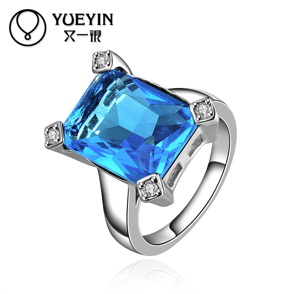 Hot sale Popular FVRR017-8 Unique Design Bulk Stock Big Sapphire jewelry Single Crystal Ring For Women(China (Mainland))