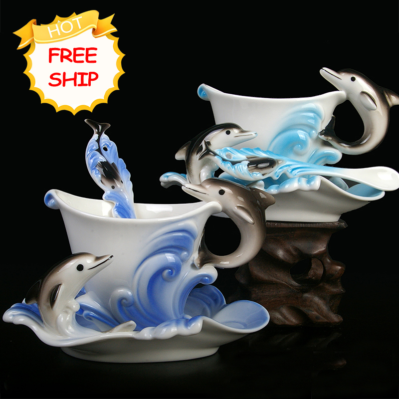 Festival Gift painting creative cup Bone China 3D Color Emamel Porcelain animal dolphin mug saucer spoon