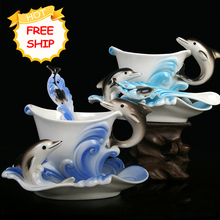 Festival Gift painting creative cup Bone China 3D Color Emamel Porcelain animal dolphin mug saucer spoon tea coffee set