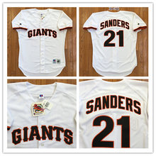 Free shipping Mens Cheap San Francisco Giants VINTAGE Baseball Jersey 1995 #21 Deion Sanders Cream Throwback Jersey(China (Mainland))