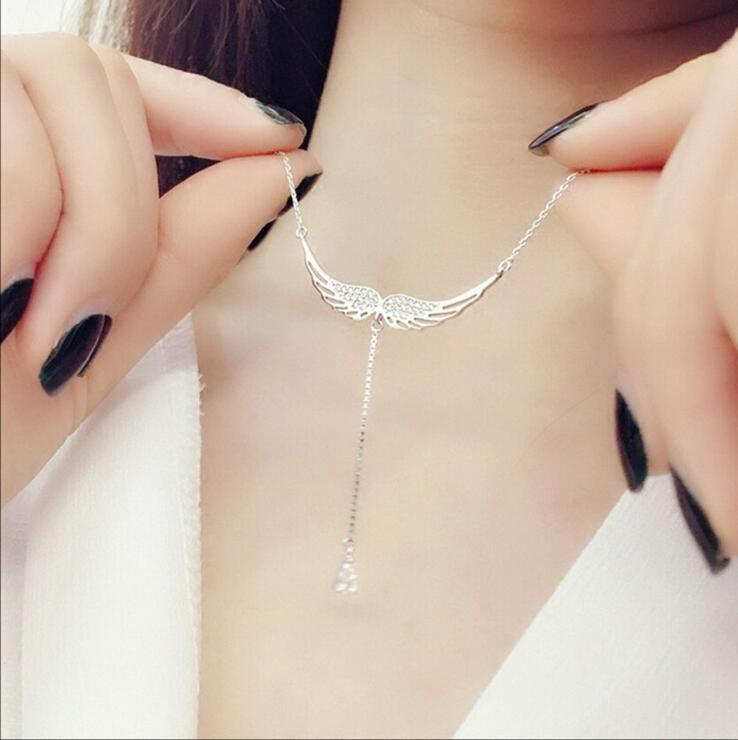 Solid 925 Sterling Silver Fine Wedding Jewelry Angel Wings AAA Cubic Zirconia Diamond Choker Necklaces & Pendants For Women Gift(China (Mainland))