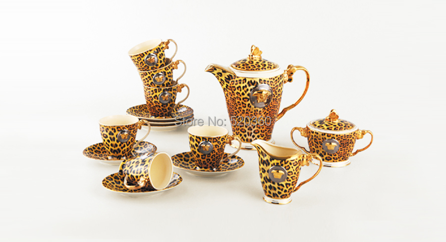 Luxury wedding decoration Royal ceramic ivory porcelain leopard style cofee and tea set Birthday gift accessaries(15 pieces )(China (Mainland))