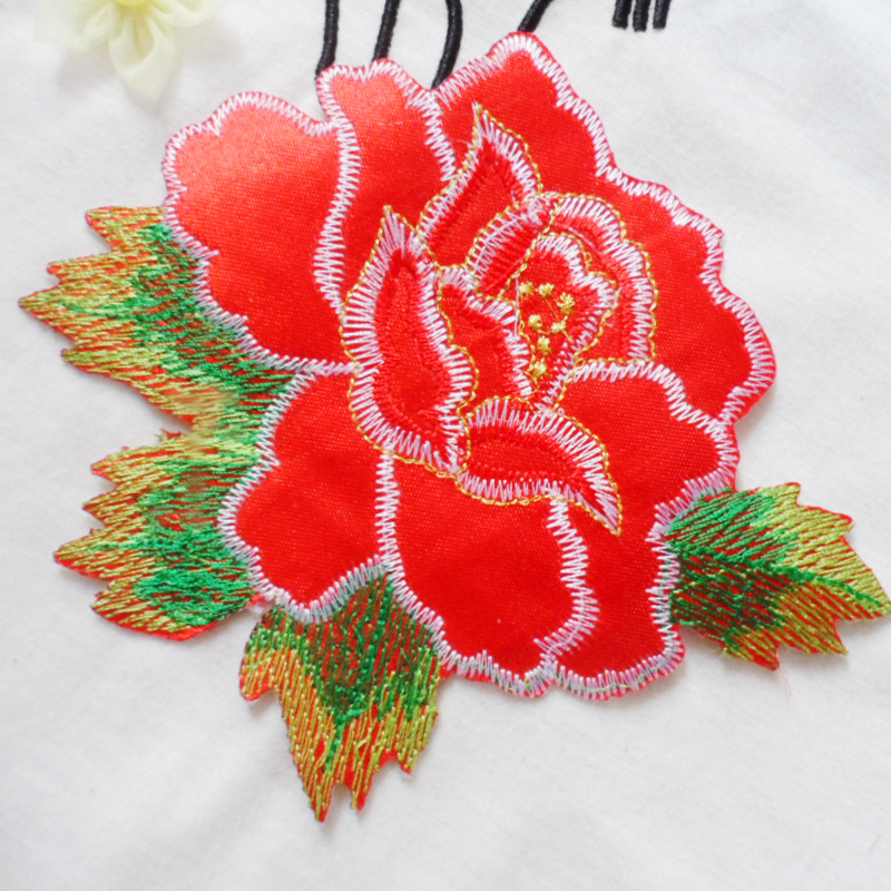 DIY computer embroidery white green gold embroidered peony stick gum dance clothes ironing cloth patch(China (Mainland))