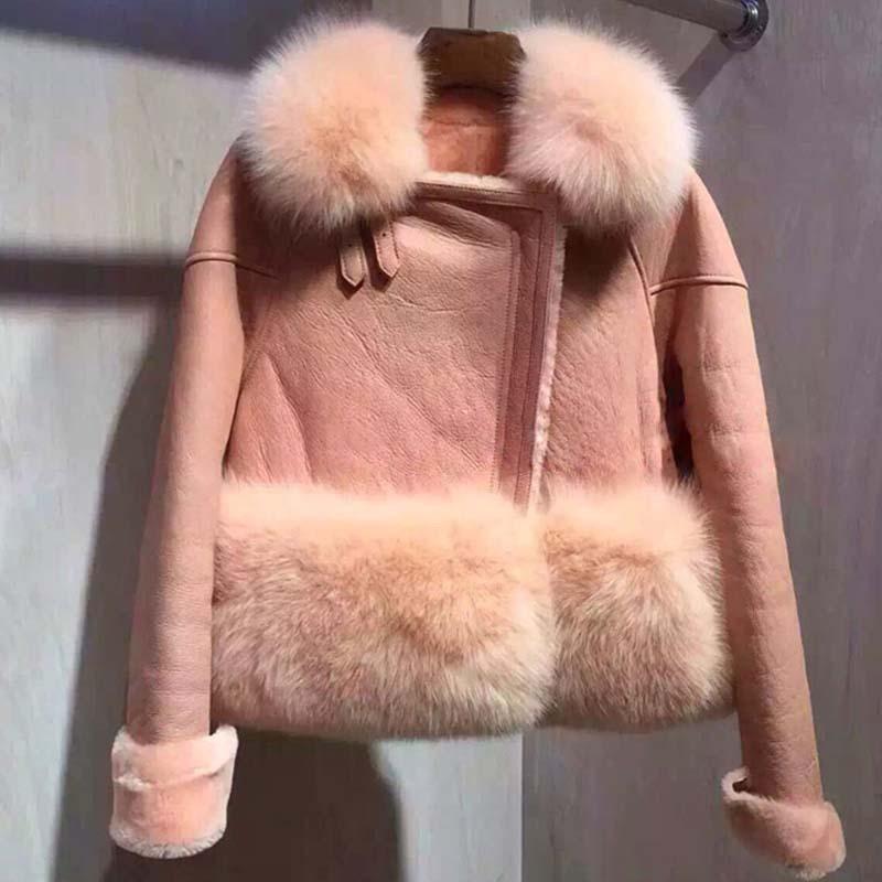 Europe station lamb wool fur fox fur autumn and winter 2015 women's new female coat blast wave