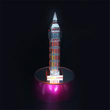 Набор 3D Металлические Головоломки С Излучающей Базы Автоматически Меняют Цвет DIY Игрушка Здания Биг Бен Арабский Звезды Детские Игрушки
