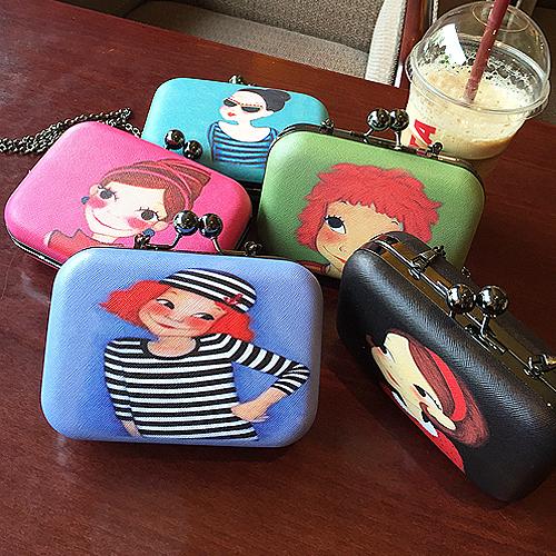 Много - цвет mini милый комикс девочка цепь наплечная сумка сцепление вечернее мешок дамы сумочка сумка-мессенджер 5 цветов