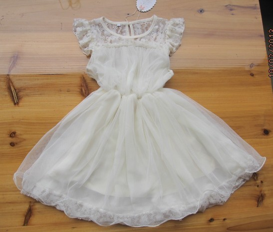 Pretty Girl Summer Ivory Lace Cotton Dress Childrens Clothes Wholesale 5pcs/lot Most Country Free Shipping(China (Mainland))
