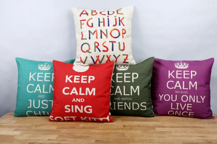 Free shipping throw pillow wedding decor linen fabric gift Hot sale 100% new 45cm Keep calm and so on sofa cotton cushion cover