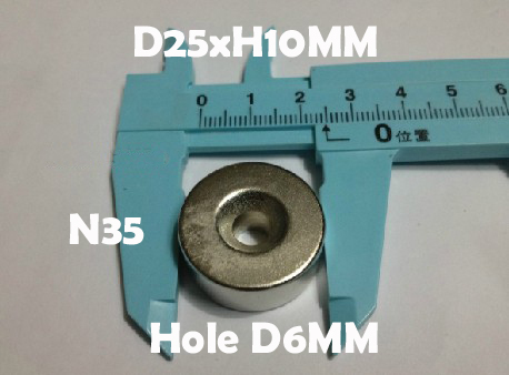 1D25mm x H10mm Disc D6mm hole Rare Earth Neodymium Strong Magnets N35 Craft Models - Jiangmen Dora Trading Co. Ltd store