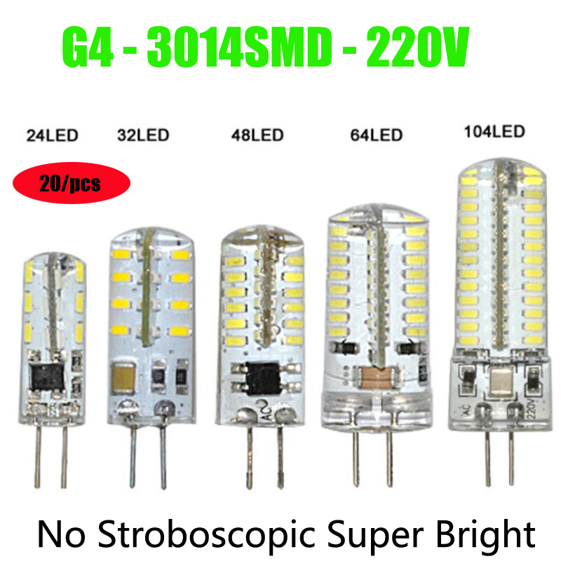Factory directly sale 20/Pieces G4 SMD3014 corn lamp AC220V 24/32/48/64/96/104 LEDs 360 Beam Angle silica gel Bulb Free shipping<br><br>Aliexpress