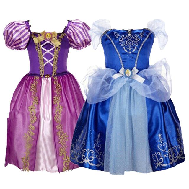 Золушка 2015 новых европейских и американских мода девушки платье, Принцесса белоснежка платье, Детская одежда