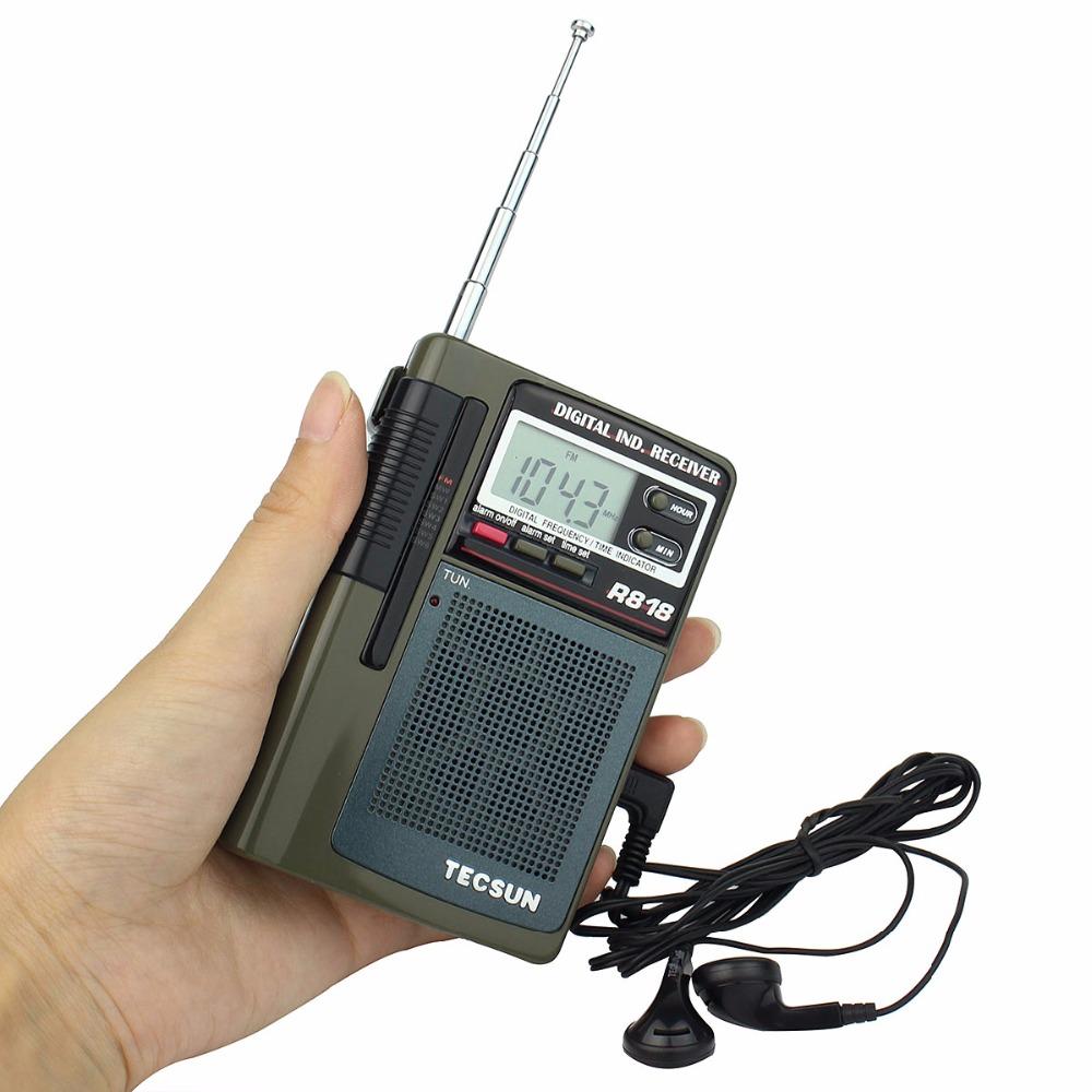 Hot Sale TECSUN R-818 Pocket MINI Radio FM/MW/SW Receiver Digital Clock Alarm + External Antenna Y4138G Eshow<br><br>Aliexpress