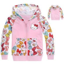 2015 new autumn Hello Kitty girls clothes long sleeve children patchwork hoodies kids cartoon pocket sweatshirts 2-7age girl(China (Mainland))