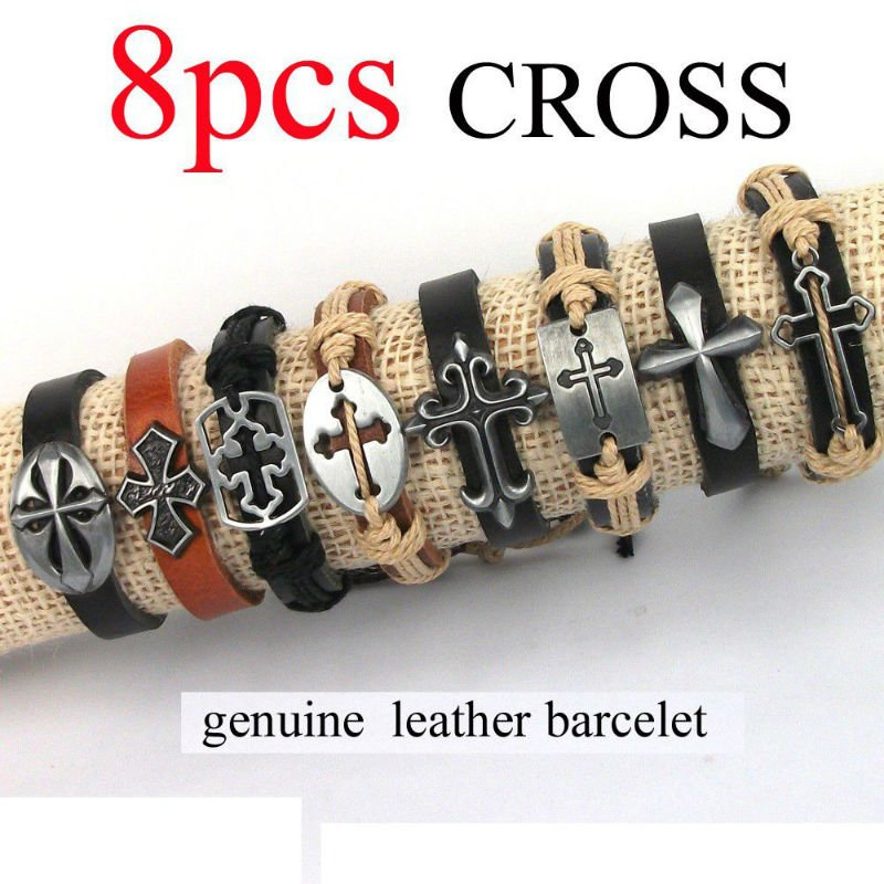 Wholesale lot 8 pcs Fashion Mixed Cross charms Leather Bracelets & Bangles fashion bracelet for women men Jewelry(China (Mainland))