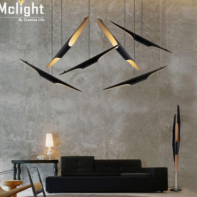 Фотография Vintage Coltrane Suspension LED Pendant Light for Restaurant Lamp Aluminum Pipe Chandleier Black And Golden Single Head