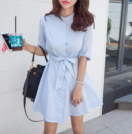 Dress women 2016 preppy style half sleeve striped with sashes dress natural mini dress stand-neck fashion on hot sale(China (Mainland))