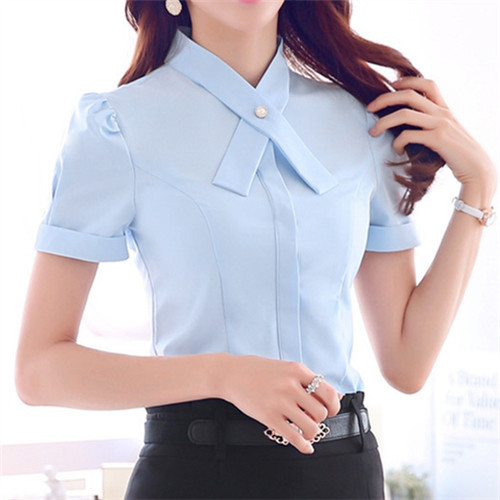 2015 Feminine Blouses Women White Shirt Short Sleeve Chiffon Blouse Formal Ladies Tops Tunic Button Front Office Shirts #B163(China (Mainland))