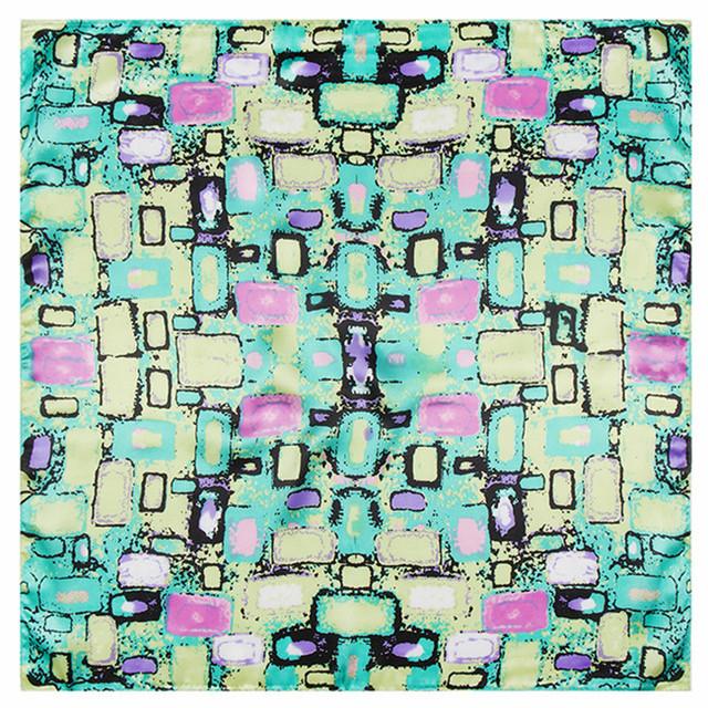 60 см * 60 см разноцветные геометрическая абстрактный узор галечный женщины моделирования атлас поверхности труда малый квадратные шарфы