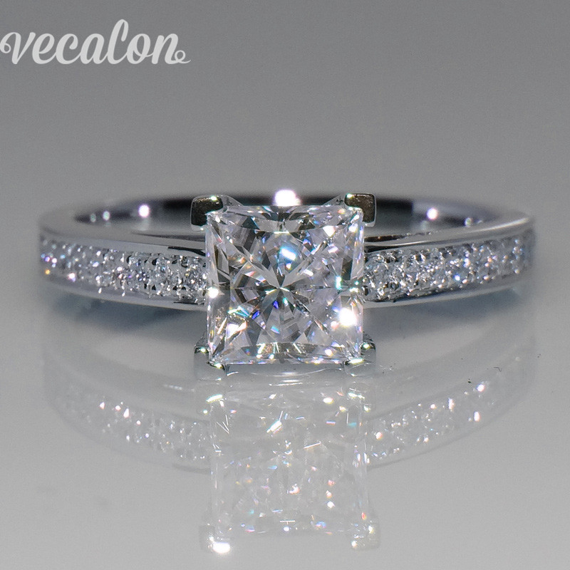 Vecalon Simple Jewelry ring Princess cut 1ct Simulated diamond Cz 925 Sterling Silver Engagement wedding Band ring for women(China (Mainland))