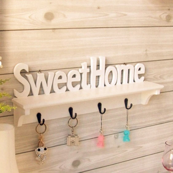2015 White Hollow Storage White Wall Key Holder Wooden Storage Holders Shelf Home Decoration 4 Hooks 47*9*16.5 Cm(China (Mainland))