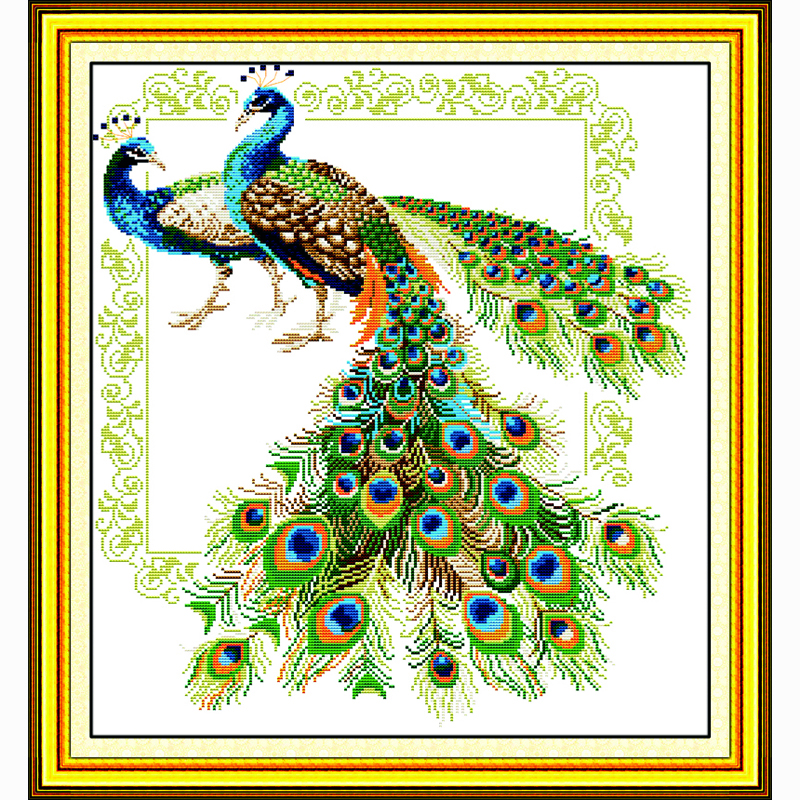 Lucky peacocks 14ct counted embroidery set Needlework,DIY DMC Cross stitch,Sets For Embroidery kits Cross-Stitch kits home decor(China (Mainland))
