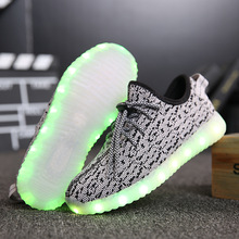 2016 hot sale with usb charging 6 Colour led light up yeezy shoes Flashing Shoes for big Boy big Girl yezzys boost 350(China (Mainland))