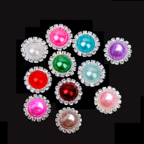 1Set 10PCS 15mm Wedding Flatback Ivory Crystal Rhinestone Pearl Button Wholesale DIY Hot Jewelry Accessory(China (Mainland))