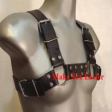 Leather Costume For Men Bondage Body Bulid Over Shoulder Cross Back Chest Harness Lingerie Sex Products For Couple(China (Mainland))