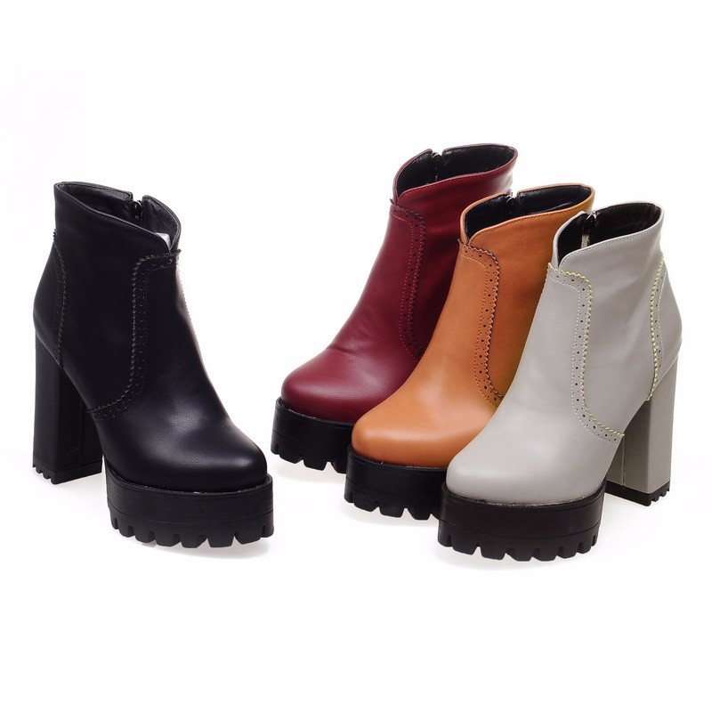 4 Colors Big Size 34-43 Female Concise Thick High Heels Ankle Boots Platform Shoes Woman With Fur Fall Winter Boots Wome's Shoes