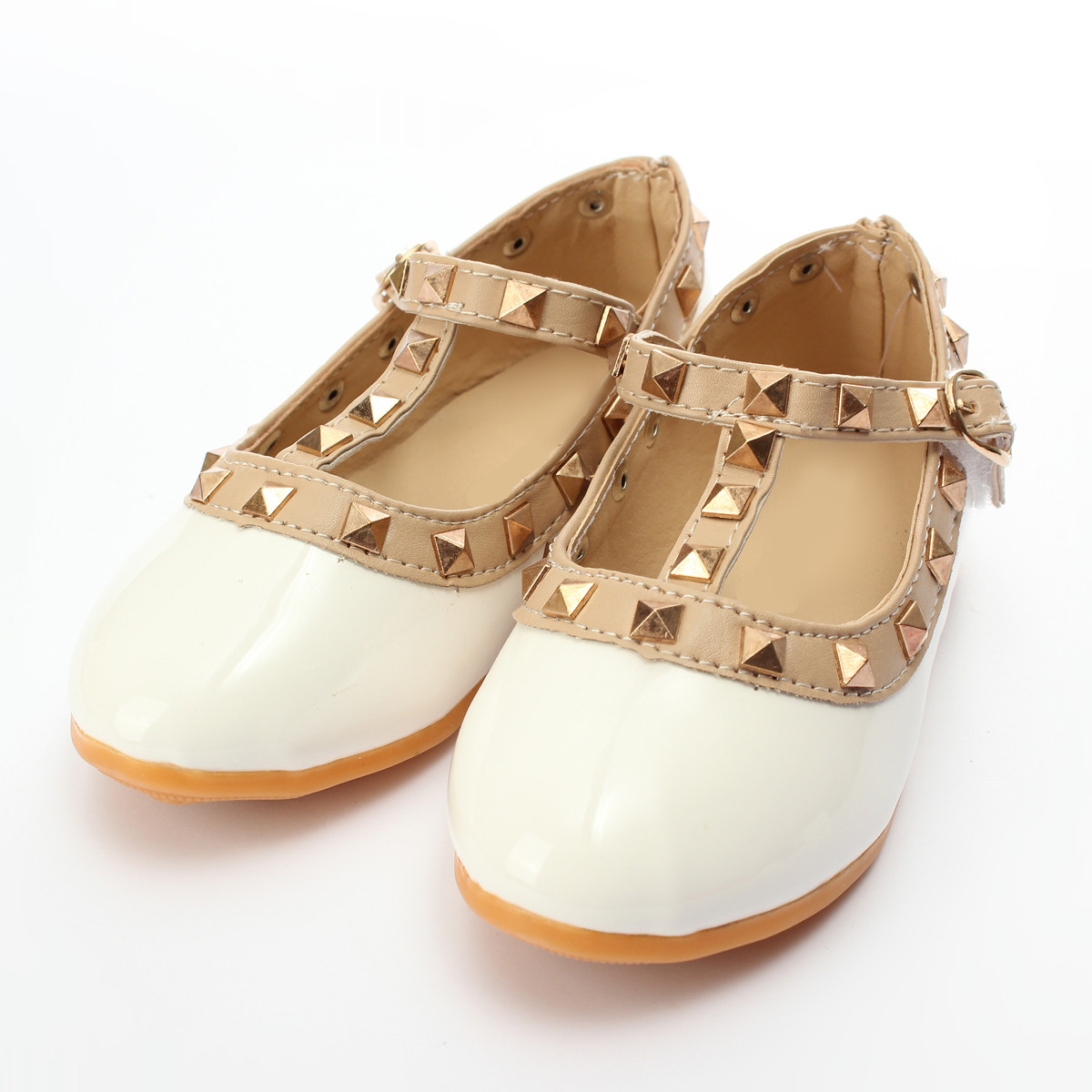 New Girl Kids Toddler Princess Sandals Anti-slip Sole Buckle and Rivet Decor T-strap Pointed Toe Flat With Comfortable Shoes