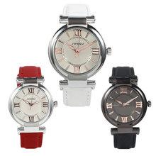 2015 venta caliente nueva moda mujer Causal cuero de la PU pantalla analógica marca Dial redondo reloj del cuarzo envío gratis