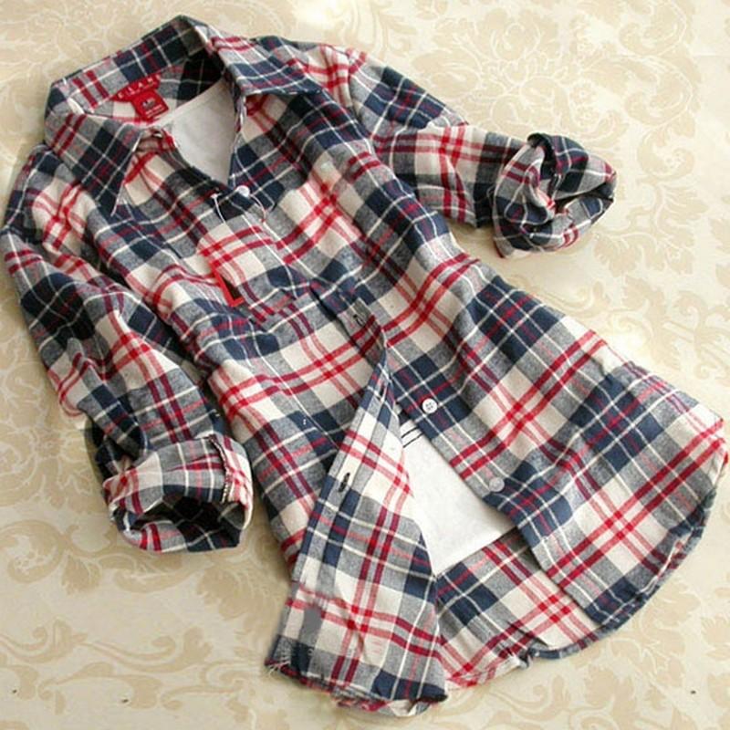 Autumn Winter Hot Plus Size Xxl Casual Plaid Shirt Women