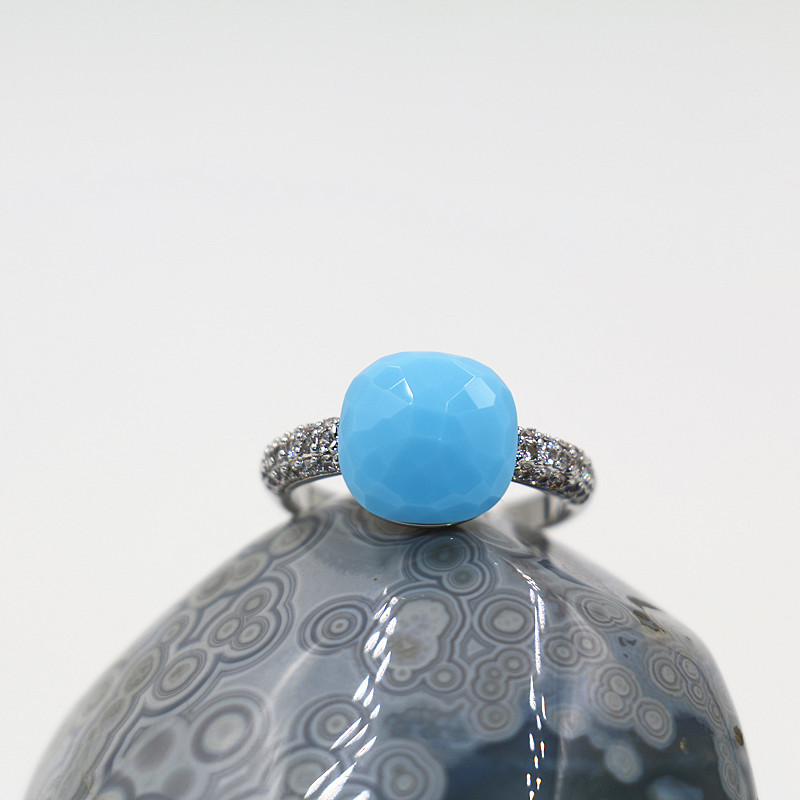 2016 New Pomellato Sapphire Jewelry Silver Plated Turquoise Blue Zirconia Big Crystal Rings For Women Wedding Gifts Bijoux Femme