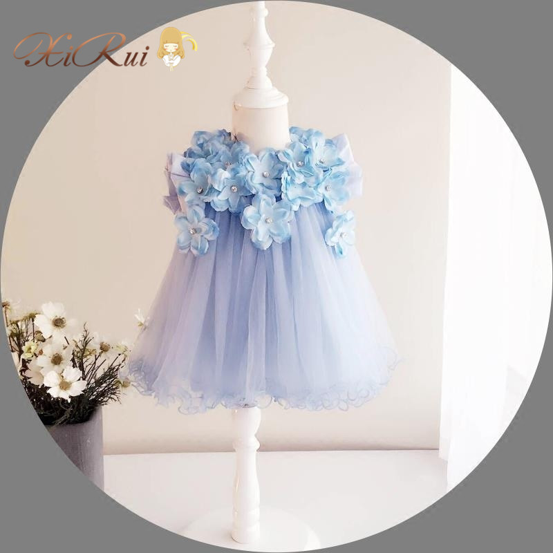 Baby Girl Wedding Dresses 3D Stereoscopic Applique Infant Princess 1 Year Birthday Party Dress Newborn Christening Gowns(China (Mainland))