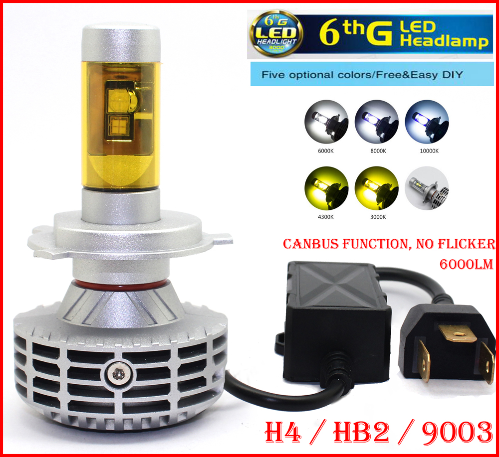 2016 NEW 1 Set H4 HB2 9003 80W 6000LM LED Headlight CANBUS No Error Flicker Conversion Kit High Low Beam LED Bulb Super Bright(China (Mainland))