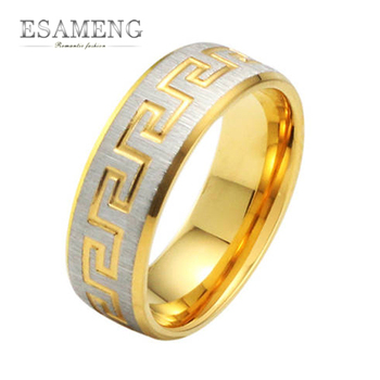 2015 New Men Jewelry Rings for Him Punk Fashion Party Titanium Steel Great Wall Pattern Men Ring GJ255
