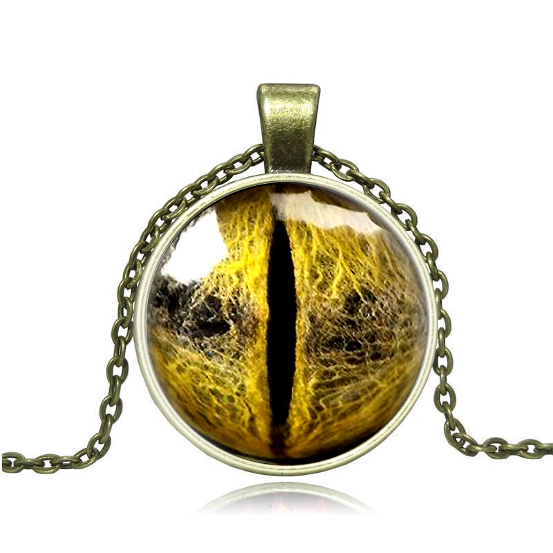 2PCS Foreign trade jewelry wholesale retro exaggerated time gem Dragon eyes animal Eye necklace Y052(China (Mainland))