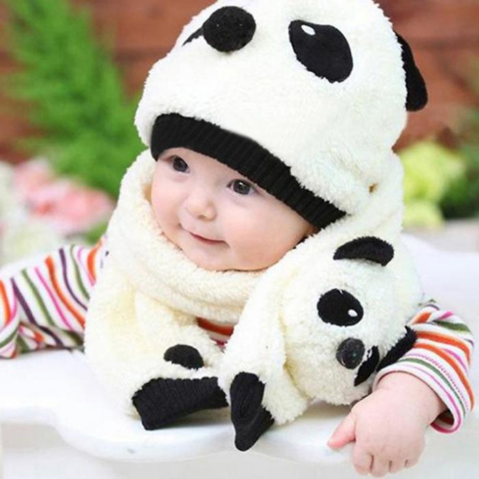 Winter Baby Girl Boy Warm Cute Panda style Hat Cap Beanie Scarf Set 4 Colors M09