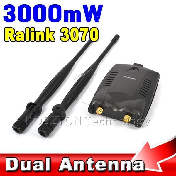 High Power 3000mW Wireless Wifi Adapter Receiver + Long Range Dual Wi fi Antenna Ralink 3070 Free Internet Desktop PC - KBT Technology store