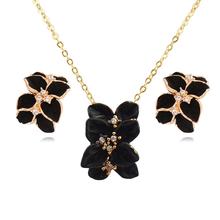 2016 Gardenias Shape Women Jewelry Set Unique Earrings Flower Pendant Necklace Wedding Jewelry JYQ