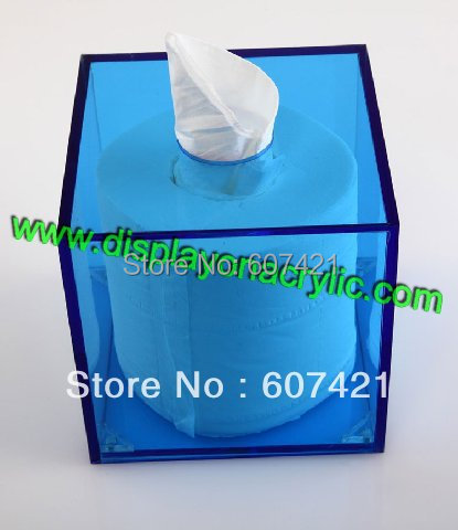 Fashionable Blue Acrylic Tissue Boxes Cover Napkin Dispenser For Facial Toilet Roll Paper(China (Mainland))