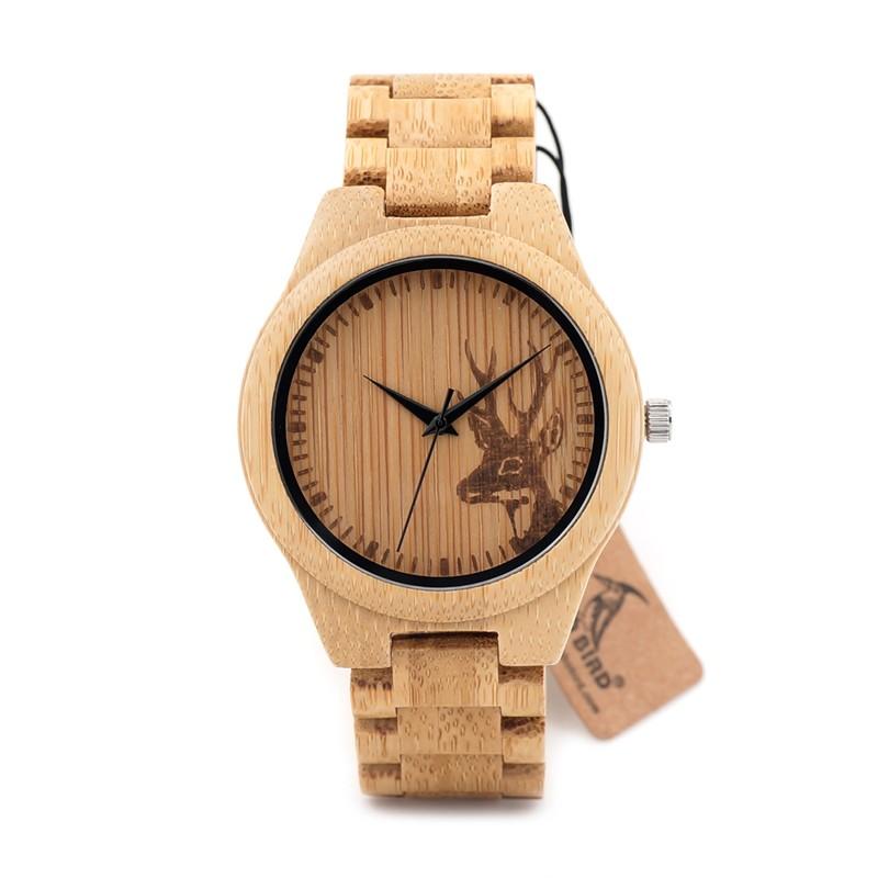 BOBOBIRD Натурального Бамбука и Дерева Часы С Головы Оленя, Выгравировать С Bamboo Ремень Японский 2035 Движение Для Подарка