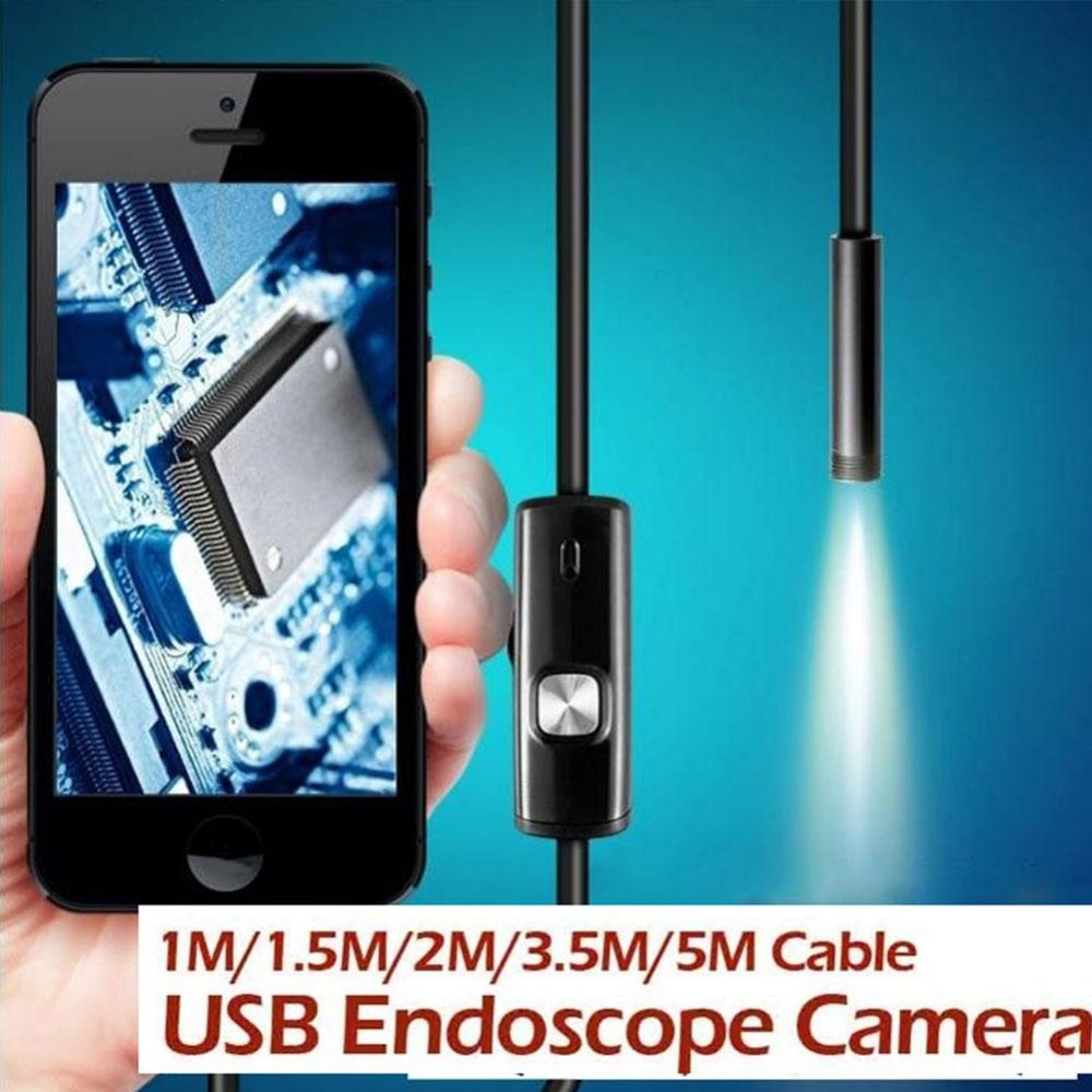 Portable 1M/1.5M/2M/3.5M/5M 7mm Endoscope Waterproof IP67 Android Endoscope Inspection 6LED Tube Video Mini Camera Micro Camera(China (Mainland))