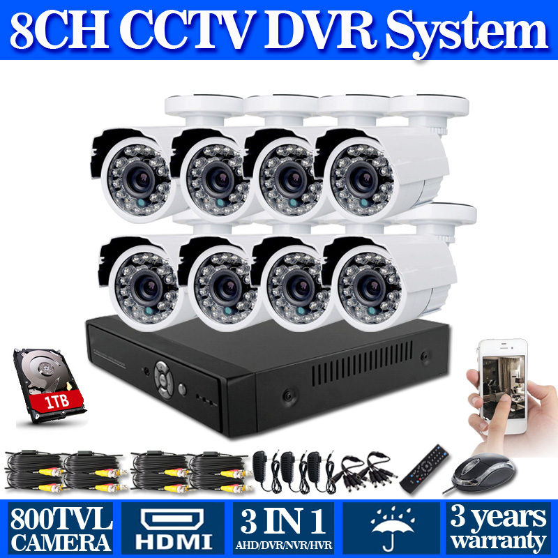 8 channel cctv 960h video surveillance system with nigh vision 800tvl Security Cameras cctv dvr usb 3g wifi hdmi+Free Shipping(China (Mainland))